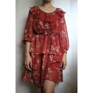 LC Lauren Conrad rusty orange floral ruffled dress